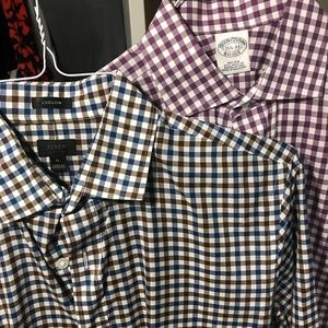 Two men's work shirts (Jcrew and Brooks Brothers)